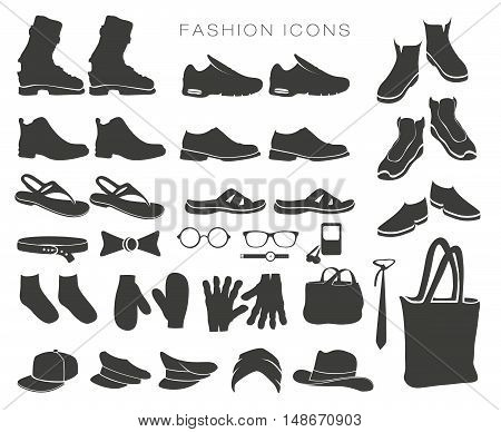 vector set of fashion icons and items of clothing silhouettes accessories