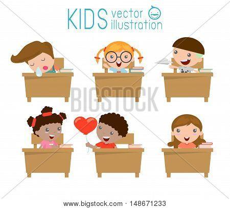 kids in classroom, child in classroom, kids studying in classroom,illustration of a kids studying in classroom, little school children, sitting at the desks,Back to school, Vector Illustration