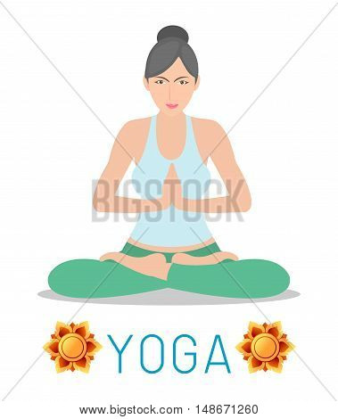 woman Practicing Yoga, happy woman Practicing Yoga, Yoga exercises. Healthy lifestyle on white background , Vector illustration