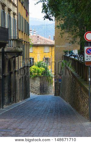 Ancient Street in the city of Bergamo Italy