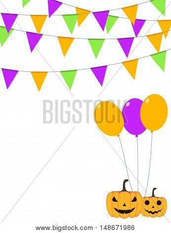 Halloween buntings and balloons party flyer design