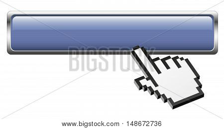 blue empty button with silver frame and clicking three dimensional pixel hand