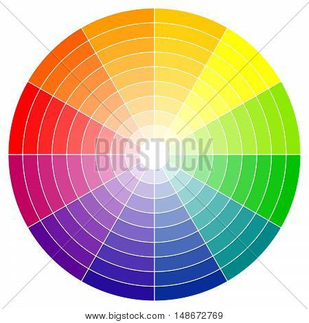 illustration of printing color wheel with twelve colors in gradations