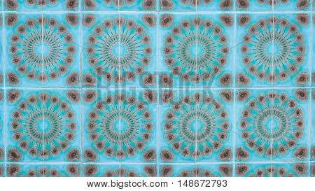colorful decorative beautiful turquoise blue ceramic glazed tiles with brown ornament on the wall