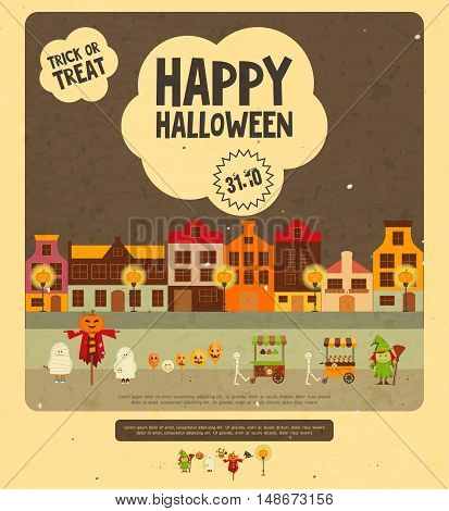 Halloween Card - Trick or Treat Characters on Street of Night City. Retro style. Vector illustration