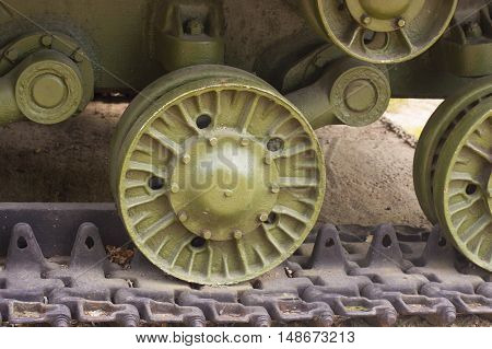 World War II Military Tank Wheel Close up