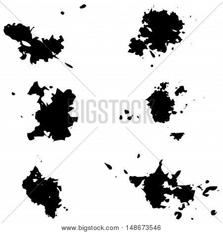 Black Vector Blots.seth Blots On A White Background. Design Element