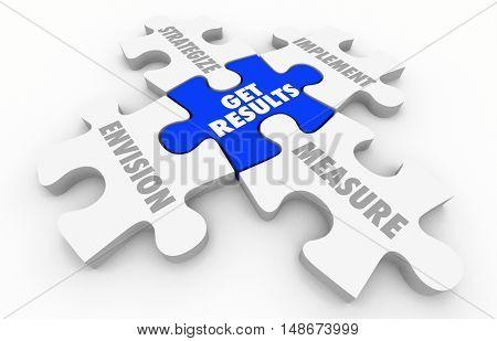 Get Results Puzzle Pieces Outcome Success 3d Illustration