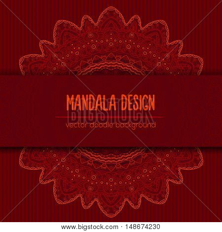 Vector mandala decor for your design with abstract ornament. Vector trinal business card. Oriental design Layout. Islam, Arabic, Indian, ottoman motifs. Ornamental doodle background.