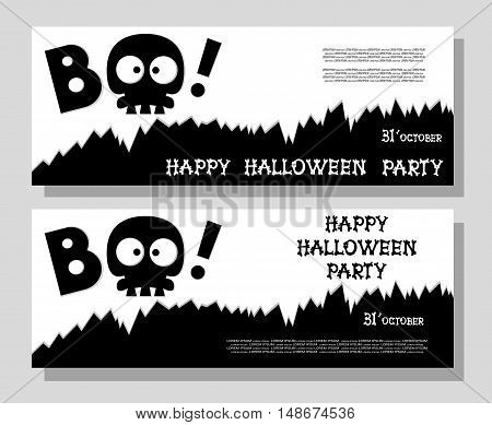 Funny Holiday Banner: Title Boo From Skull Skeleton And Happy Halloween From Bones Letters. Vector I