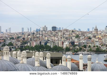 View from Istanbul with Galata Tower and the modern city. Turkey