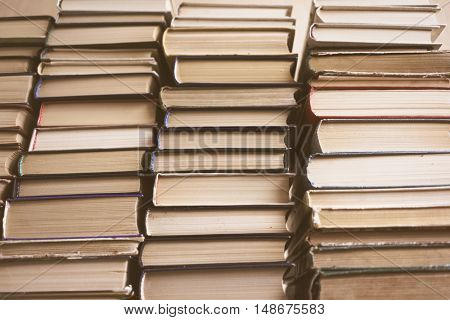 Books Background,  Education And Knowledge, Learn And Study Concept. Reading And Science, School And University, School Library, Bookstore, Books On Bookshelves, Stack Of Old Books, Stacked Books