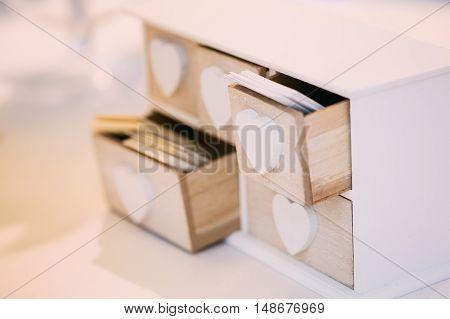 White Vintage Decorative Wooden Box Casket for Visiting Cards.