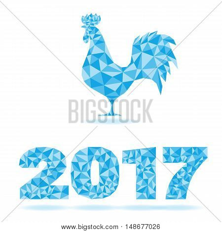 Happy New Year Background Silhouette Rooster And Number 2017 Decoration As Crystal Structure Isolate