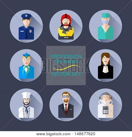 Profession flat avatars with shadows vector set. Various professions icon set
