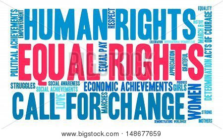 Equal Rights word cloud on a white background.