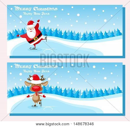Set of banners funny santa claus and deer in skates at the ice rink. Concept poster ticket or invites. Cartoon style isolated on pink background. Vector illustration