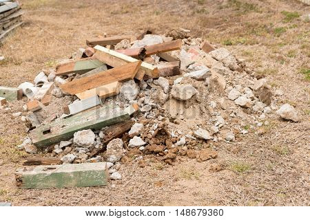 Pile of builder's rubble on construction site