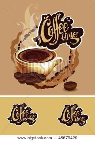 The raster version banner with a cup of coffee. Coffee time logo.