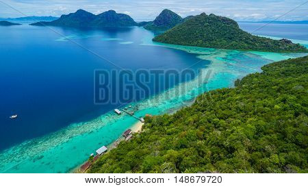 View on top of Bohey Dulang island near Sipadan Island,Sabah,Borneo.Tropical paradise island with bright smooth mirror sand & crystal clear water with rocky shore in the island of Semporna,Borneo