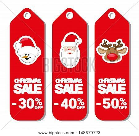 Set pattern for label Christmas sale with Santa Claus deer and snowman isolated on white background. Cartoon style. Vector illustration