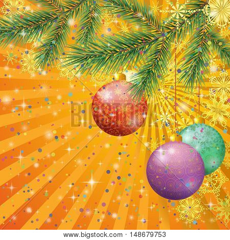 Background For Christmas Holiday Design, Fir Spruce Branches, Balls, Snowflakes and Stars. Eps10, Contains Transparencies. Vector