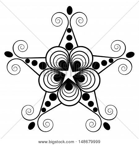 The pattern shape of a star on a white background. Vector illustration. Isolated object.