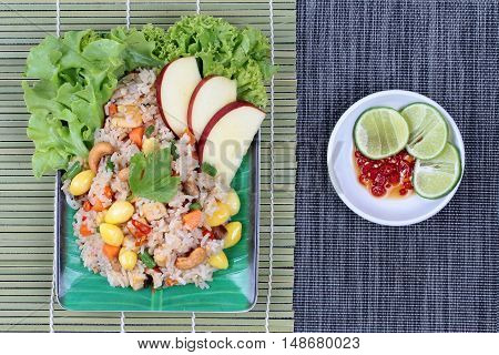 Fried  rice with mixed vegetable and side dish in Vegetable festival of Chinese