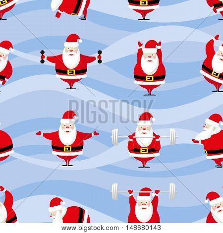 Seamless Happy New Year and Merry Christmas background funny sportsman Santa Claus does morning exercises in different poses. Vector illustration