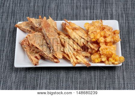 Deep fried mixed vegetable  as stir taro in tofu sheet,sliced taro and sweet corn fried are is food for Vegetable festival of Chinese as