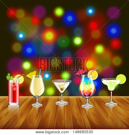 Cocktails on wooden table and bar lights background vector