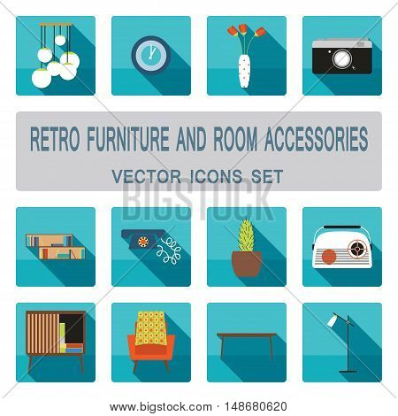 Retro furniture and room accessories with shadows vector icons set. Home furniture icons set