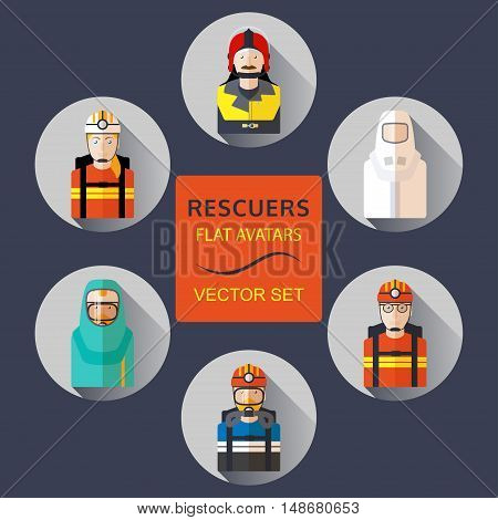 Rescuers flat avatars vector set with shadows.