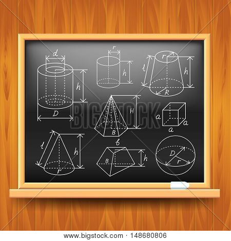 Geometric figures on black school board vector background