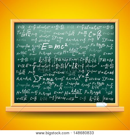 Green school board with physics formulas vector background