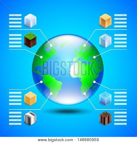 Infographics about natural resources with earth globe and small cubes on blue background