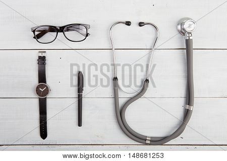 Workplace Of Doctor - Stethoscope,  Glasses And Watches