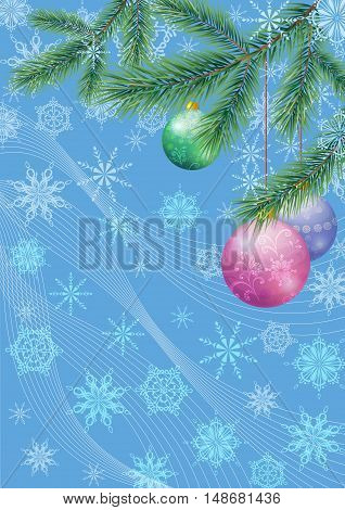 Background for Christmas Holiday Design, Green Fir Coniferous Branches, Glass Balls and Outline Snowflakes. Eps10, Contains Transparencies. Vector