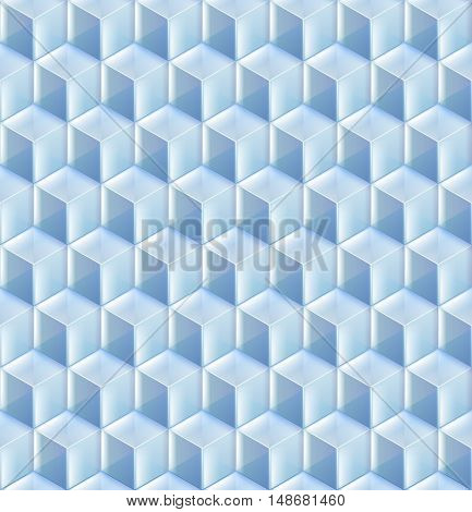 Seamless from blue glass cubes vector background