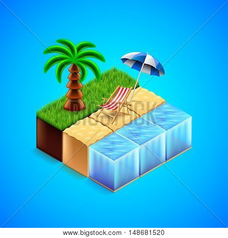 Tropical resort concept. Beach with deck chair and palm tree vector