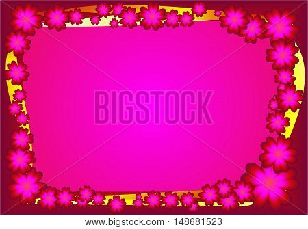Abstract purple floral frame suitable as a greeting