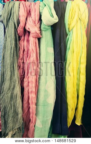 Set Of Scarves On A Hanger