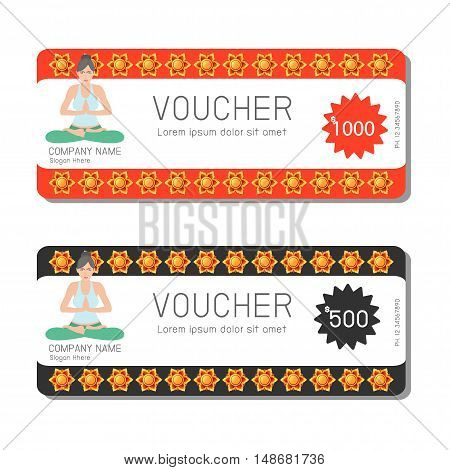Gift voucher template yoga and modern pattern. Voucher template with premium pattern, gift Voucher template with colorful pattern. bright concept. Vector illustration