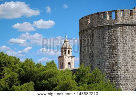 Dubrovnik bell tower of Dominican Monastery and City Walls, Croatia