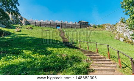 PODZAMCZE, POLAND - SEP 03, 2016: Mount Birow rises 461 m above sea level. It is one of the characteristic hills in the area of Podzamcze and Ogrodzieniec. The picturesque rocky hill with a good view on the surrounding area was already a site the Neolithi