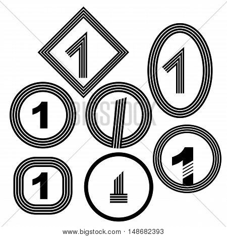 Set of Number One Icon Isolated on White Background