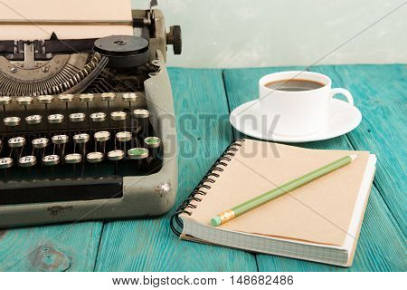 Writer's Workplace - Wooden Desk With Typewriter