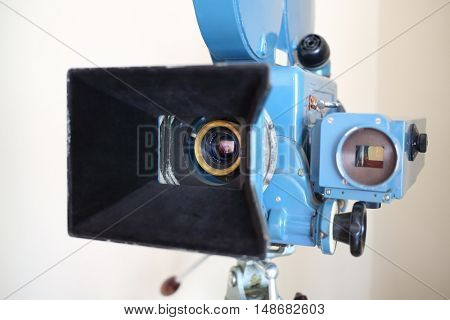 PERESLAVL-ZALESSKIY, RUSSIA - JUL 18, 2015: Old video camera in a museum, focus on the lens