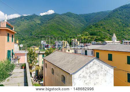 The picturesque view of the old village of Corniglia on a sunny day. Cinque Terre. Liguria.