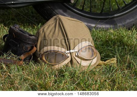Green kaki Military motorcyclist helmet and glasses